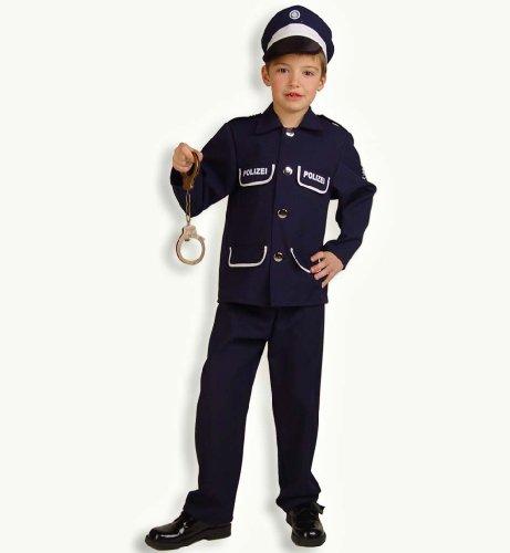 Fasching Karneval Kostüm Polizist Petersen, 2tlg. m.Mütze, Polizei: Größe: 116