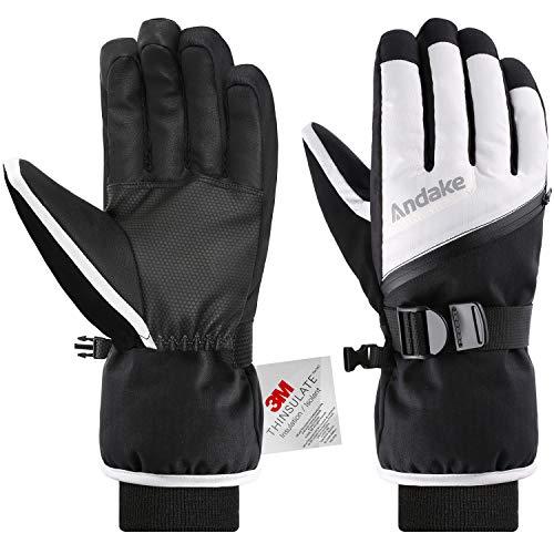 Andake 3M Thinsulate | Touchscreen wählbar | warm wasserdicht Winddicht rutschfest atmungsaktiv | Handschuhe Skihandschuhe Winterhandschuhe Thermohandschuhe Damen Frauen, Weiß+Touchscreen, M