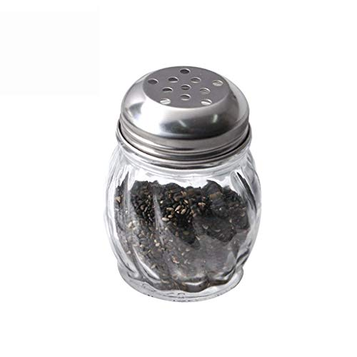 LYMUP Botellas del condimento sin Plomo de Cristal del condimento condimento de Botella for el Grano Grande Especias Cubierta de Acero Inoxidable depósito de condimento Grande
