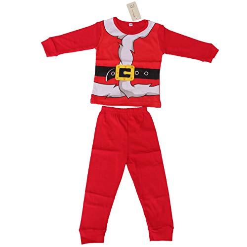 Amosfun Kerst Kostuum Set Katoen Rood Lange Mouw Mooie Kerstman Pak Festival Kostuums voor Meisjes Kinderen Jongens 85-90cm Rood