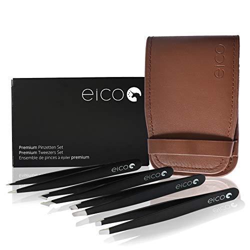 Eico Pinzetten Set - Premium 4 Edelstahl-Pinzetten mit Spitzenschutz und veganem Etui – Profi Pinzette für Augenbrauen zupfen, Haarentfernung oder Splitter-Entfernung – Für Frauen und Männer