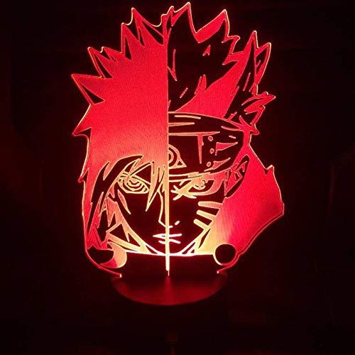 None/Brand Regalo de Navidad de los Niños Naruto Figura USB Dormitorio LED Luz de Noche Sensor Táctil Decoración de Iluminación de Niño Niños Lámpara de Mesa Mesita de