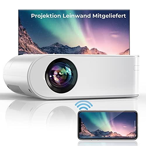 "YABER WiFi 7000 Lumen Mini Beamer 1080P Full HD Tragbar Video Beamer [Beamer leinwand einschließen] mit 250\"" Display Heimkino Beamer, Kompatibel mit IOS/Android/TV Stick/PS5 Projektor"