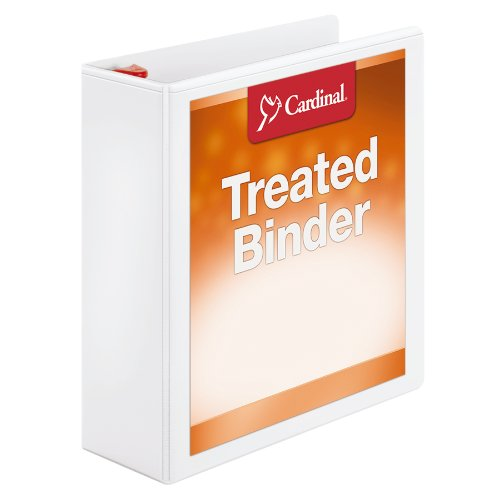 Cardinal 3 Ring Binder, 3 Inch Treated Binder, Locking Slant-D Rings, Customizable ClearVue Covers, Holds 725 Sheets, White (CRD32130)