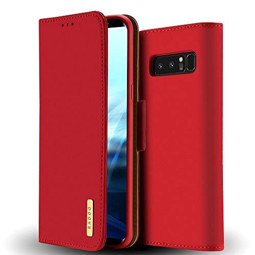 Radoo Galaxy Note 8 Hülle, Premium Echtes Leder Klapphülle Slim Lederhülle mit Standfunktion und Kartenfach TPU Innenraum Hülle Schlanke Ledertasche Handyhülle für Samsung Galaxy Note 8 (Rot)
