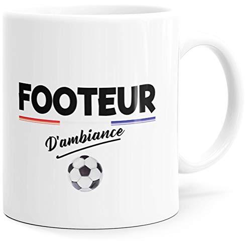 Taza humorística de Footeur d'Ambiance con mensaje divertido de Foot. Idea de regalo original para amigos, pareja o colegio. Pote para cumpleaños, Navidad para el placer.