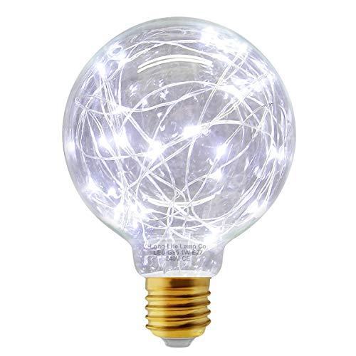 1w G95 Globe LED Industrial Decorative Light Bulb Coloured Fairy String Filament E27 (Cool White)