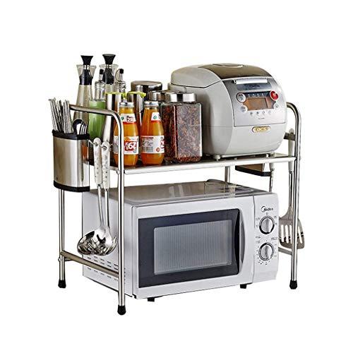 JUNYYANG Estante estante de la cocina de plata Organizador sola capa de acero inoxidable horno de microondas Rack de preparación en la cocina y el gabinete de estante (Color: plata, Tamaño: los 58cm *