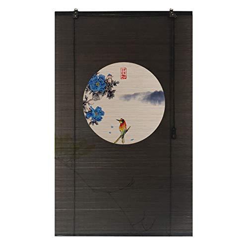 Persianas de bambú Ventana de Cocinas Persiana Enrollable de Bambú con Flores Patrón de Pájaros, Persianas Enrollables para Interiores y Exteriores para Decoración de Patio con Balcón para El Hogar, N