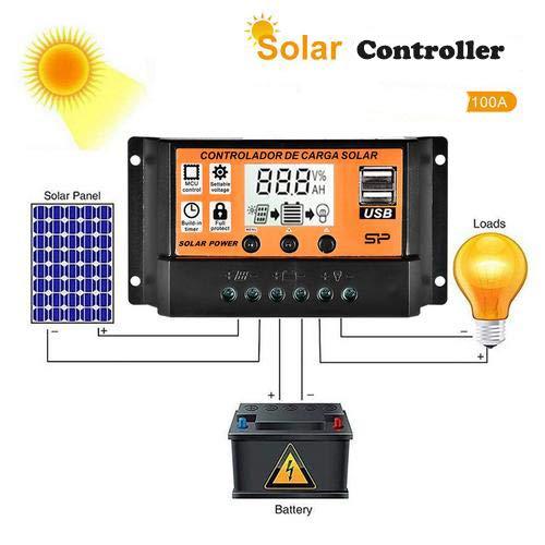 Contrôleur de charge solaire MPPT, chargeur de batterie solaire 100A, régulateur intelligent de panneau solaire 12V / 24V avec double port USB et écran LCD