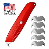Hook Blade Utility Knife with 5 Utility Hook Blades, Heavy-Duty Retractable Razor Knife Set with Comfort Grip, Shingle Cutter Roofing Knife, Made in USA, Quality Steel
