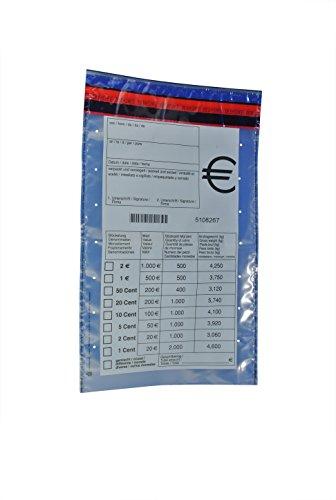 100 x Münzgeldtaschen: ca.: 220 x 370 mm, transparent, Druck: