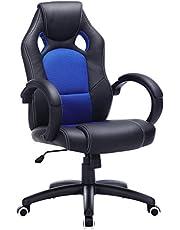 SONGMICS OBG56L Racing - Silla de Escritorio de Oficina Ergonómica Regulable con Ruedas, color Azul