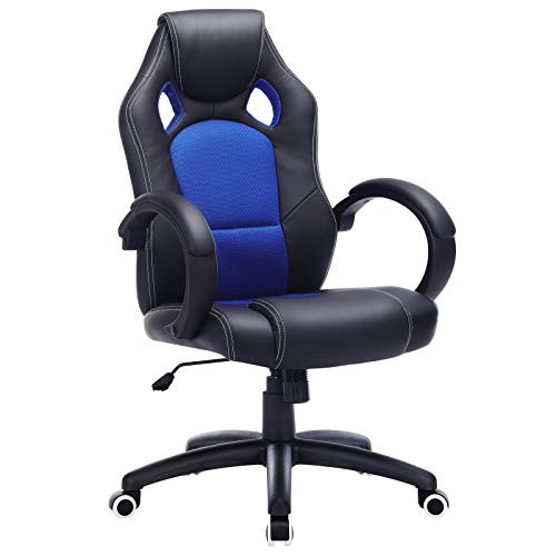 SONGMICS OBG56L Racing - Silla de Escritorio de Oficina Ergonómica Regulable con Ruedas, color Azul