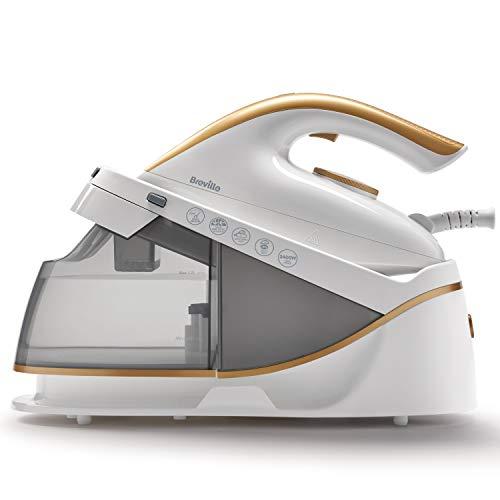 Breville PressXpress Steam Generator Iron | 2400 W | Ceramic Soleplate | Detachable Water Tank | White & Satin Gold [VIN410]
