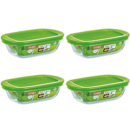Pyrex Microwave Safe Classic Rectangular Glass Dish Vented Lid 0.35 Litre Green (Pack of 4)