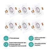 ELLDUE LED Einbaustrahler Neutralweiß 5W | 5000K | 480 Lumens | 230V | IP44 Platz Schwenkbar Einbauleuchten für Flur,Bad, Bühne und Büro, 6er Pack