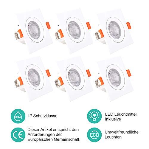 ELLDUE LED Einbauleuchten Neutralweiß 5W | 5000K | 500 Lumens | 230V | IP44 Quadratische Schwenkbar Strahler für Flur,Bad, Bühne und Büro, 6er-Pack
