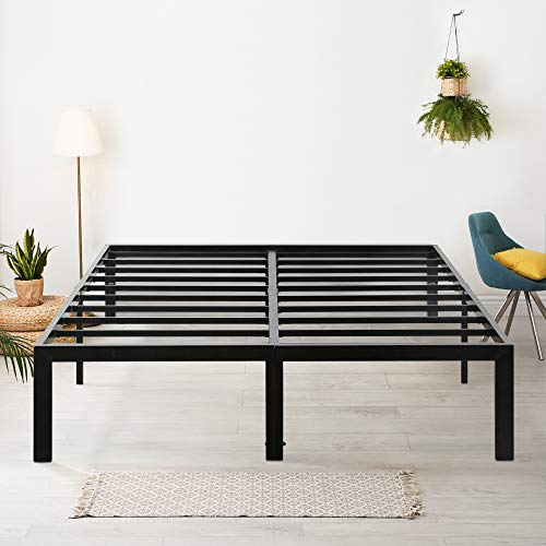 "Olee Sleep 18"" Heavy Duty Queen Steel Slat, No Box Spring Needed, Black"