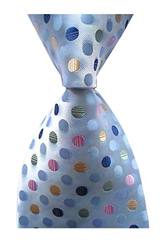 Elfeves Men's Classic Polka Dot Blue Green Jacquard Woven Silk Tie Formal Necktie