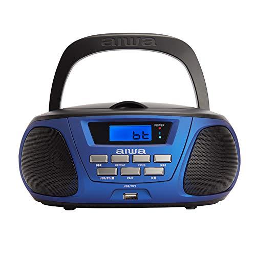 Aiwa Bbtu-300Bl: Radio Cd Portátil Con Bluetooth, Usb, Aux In, Sintonizador De Radio, Edición Especial Infantil Para Niños Y Niñas