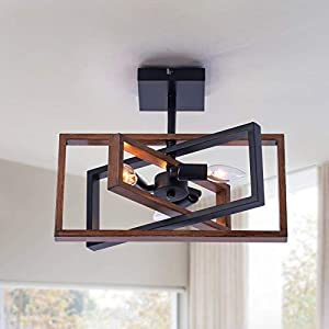 Industrial Rectangle Flush Mount Ceiling Light,Rotatable Metal Frame,Rustic Retro Vintage Farmhouse Light Fixture for Dining Living Room Bedroom Passway Kitchen Hallway Entryway,Faux-Wood Color Finish