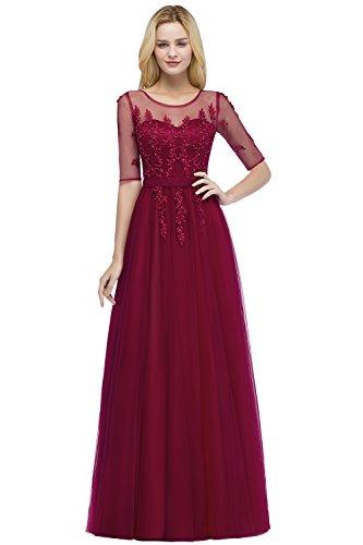 Babyonlinedress® Damen Standesamtkleid Brautjungfernkleid Mit Aplikation Abendkleider Abschlussball Kleider Weinrot 44