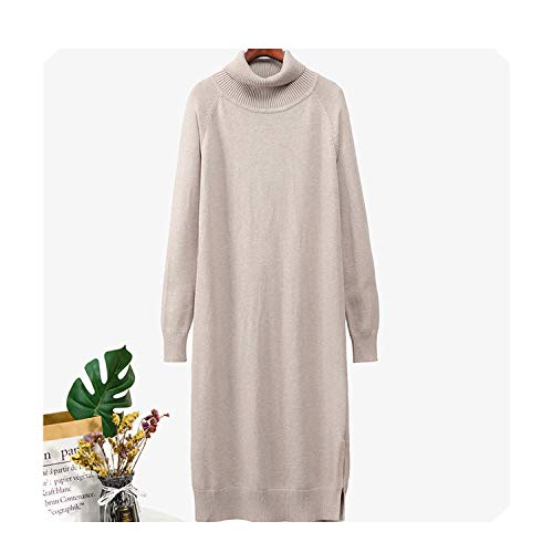 FairyLi Oversized Casual Vrouwen Breien Losse Lange Jurk Coltrui Herfst Winter Sweater Jurk Baggy Robe Trek Zwarte Jurken