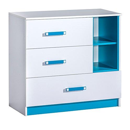 SMARTBett GmbH Kommode mit 3 Schubladen Farbauswahl Weiss/Blau