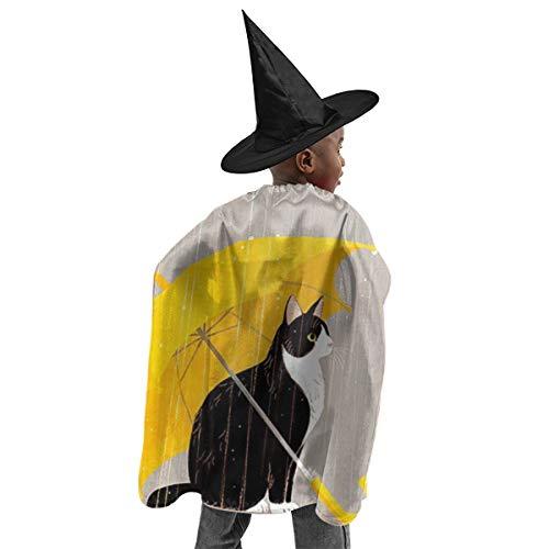 Katzen-Regenschirm, Halloween-Hexen-Dekoration, Halloween-Kostüme, Hexen-Zauberer-Umhang mit Hut für Kinder