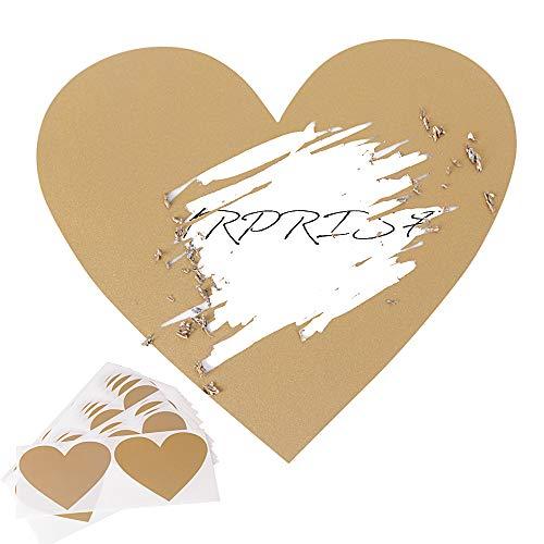 JNCH 50pz Gratta e Vinci Adesivo Etichette Scratch Sticker Cuore per Regalo Biglietto d'Invito Matrimonio Festa Fai da Te Oro