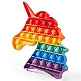 Jurnwey Pop Bubble Toys, Fidget Sensory Push Toys Rainbow Colors Silicone Stress Reliever Toy Autism Special Needs(un.i.Corn)