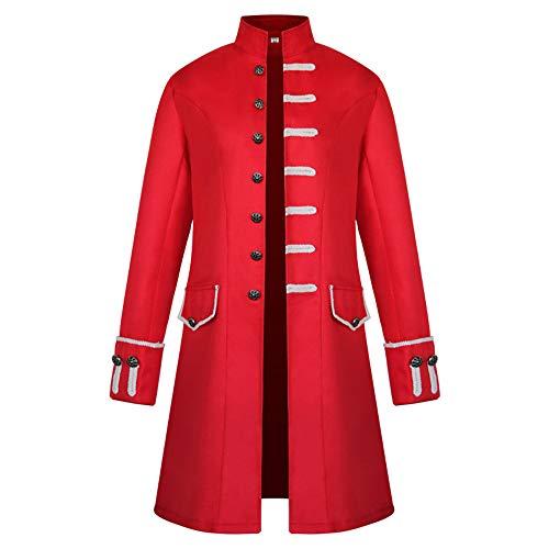 BEIXUNDIANZI Mantel Jacke Männer Langarm Gothic Gehrock Uniform Kostüm Party Oberbekleidung Langer Uniformkleid Vintage Punk Stil Karneval Uniform Cosplay Kostüm Outwear ZZZ-Red 3XL