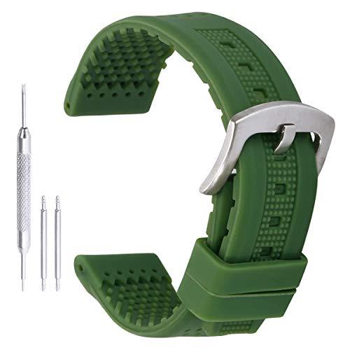 reloj del silicón genéricos pulseras de reloj deportivo correa de goma de banda de 22 mm de los hombres con orificios de ventilación en verde
