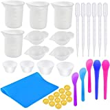 YAVO-EU Silicone Measuring Cups for Resin,36Pcs Silicone Resin Molds Resin Tools kit Cup Jewelry Casting Molds, for Epoxy Resin Molds DIY Jewelry Art