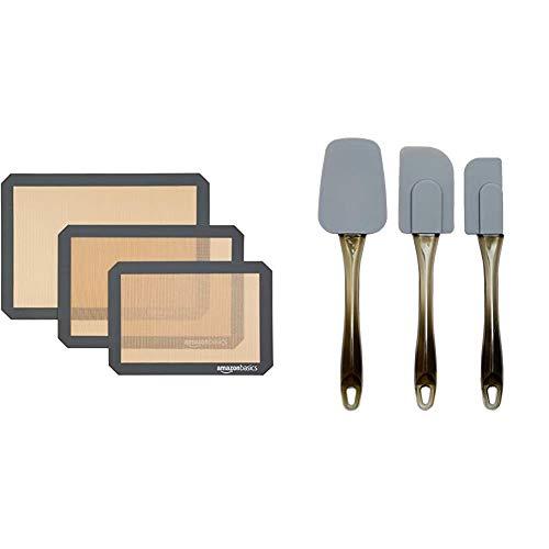 Amazon Basics Tapete de silicona para hornear, juego de 3 unidades + Espátulas de silicona   Set de 3 piezas