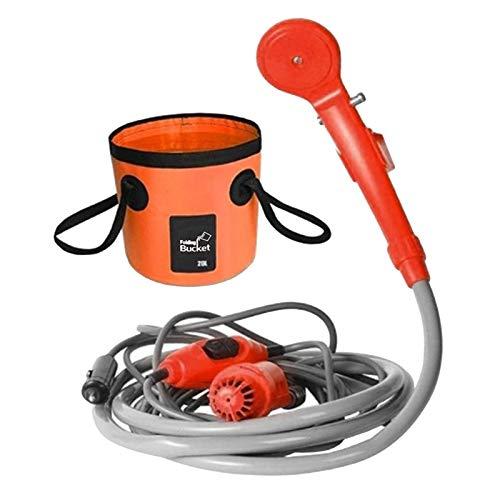 yotijar Tragbare Camping Outdoor dusche Hand duschpumpe duschkopf 12v Auto feuerzeug heizungs Adapter & 20l klapp Wasser Eimer zusammen klappbares Becken - Orange