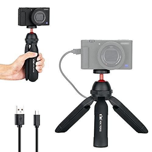 Mini Treppiede da Tavolo con Impugnatura Power Bank per Sony ZV-1 A6600 RX100, M50 M6II G7XIII, G100, Zoom H6, DJI Osmo Pocket GRIII ecc. Compact Mirrorless Entry-level DSLR Camera Selfie Stick