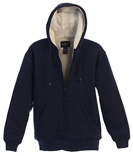 Gioberti Men Heavyweight Sherpa Lined Fleece Hoodie Jacket, Navy, X Large