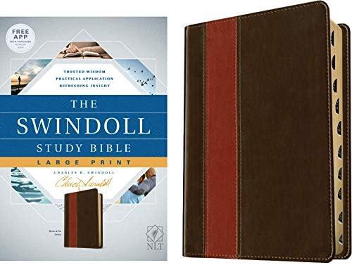 Tyndale NLT The Swindoll Study Bible Large Print LeatherLike Brown Tan Indexed New Living Translation product image