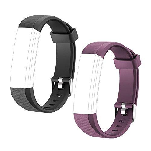 HOTSO 2 Piezas Pulsera de Repuesto para Reloj Inteligente ID 115U, Cómoda y Durable Correa de Recambio – Violeta+ Negro
