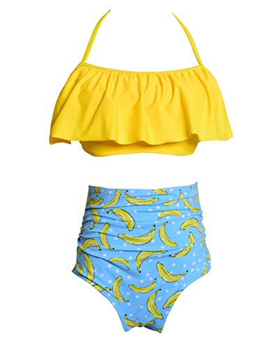 Big Girl's Youth 2 Piece Floral Tie-Dye Bathing Suit Tankini Swimwear Swimsuit 164 Yellow Banana
