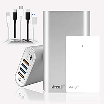 Atcuji 26800mAh USB C 90W External Battery and USB-C 90W Power Adapater PD Power Bank with 90W Power Delivery Portable Charger for MacBook Pro/Air Surface Book 2 Pro X 7 HP Dell laptop TSA-Approved