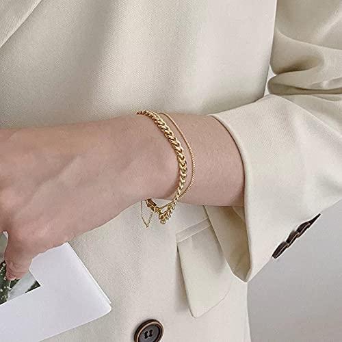 AAKK Pulsera De Cadena De Bloqueo De Doble Capa De Plata De Ley 925, Pulsera De Oro Geométrica Femenina, Joyería Francesa