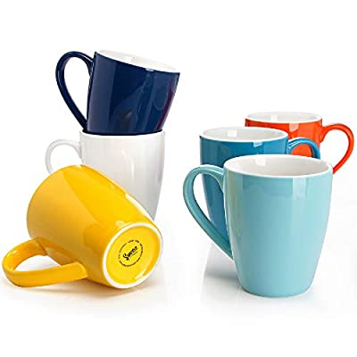 Sweese 601.002 Porcelain Mugs - 16 Ounce for Coffee, Tea, Cocoa, Set of 6, Hot Assorted Colors