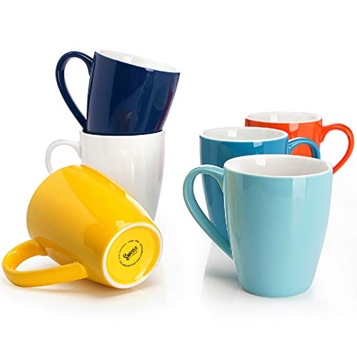 Sweese Set of 6 Porcelain Mugs - 16 Ounce for Coffee, Tea, Cocoa Now $22.99 (Was $37.99)