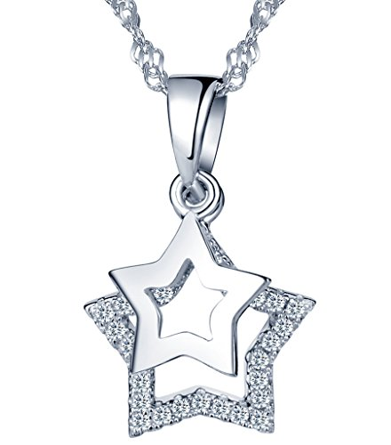 Yumilok pendentif collier en 925 argent pur doublé étoiles mobile orné zircon cubique pour femme fille couleur d'argent