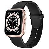 Gloriza for Apple Watch 6 5 4 3 2 1 SE スポーツバンド スポーツベルトシリコン交換バンド 対応 アップルウォッチ (42mm/44mm, ブラック)