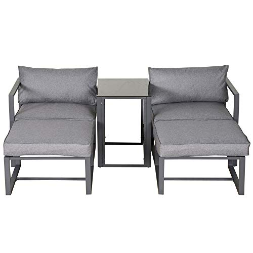 Outsunny 5 Piece Garden Aluminium Conversation Sofa Set Patio Furniture Set Outdoor 2 Sofas 2 Footstools End Table with Cushions