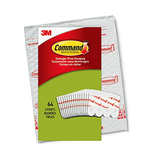 Command Poster Hanging Strips, Small, White, Indoor Use, 64-Strips,...